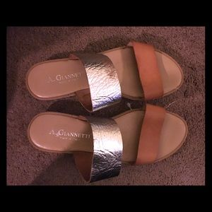 A. Giannetti   silver and nude slide sandals